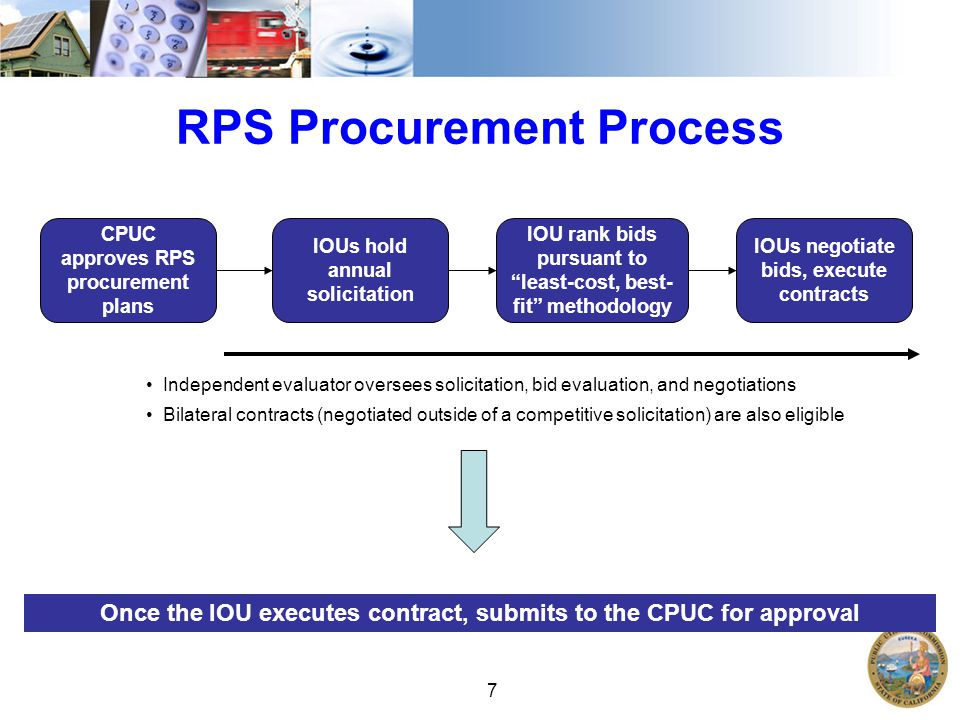 7 RPS Procurement Process CPUC approves RPS procurement plans IOUs hold annual solicitation IOU rank bids pursuant to least-cost, best- fit methodology Independent evaluator oversees solicitation, bid evaluation, and negotiations Bilateral contracts (negotiated outside of a competitive solicitation) are also eligible IOUs negotiate bids, execute contracts Once the IOU executes contract, submits to the CPUC for approval