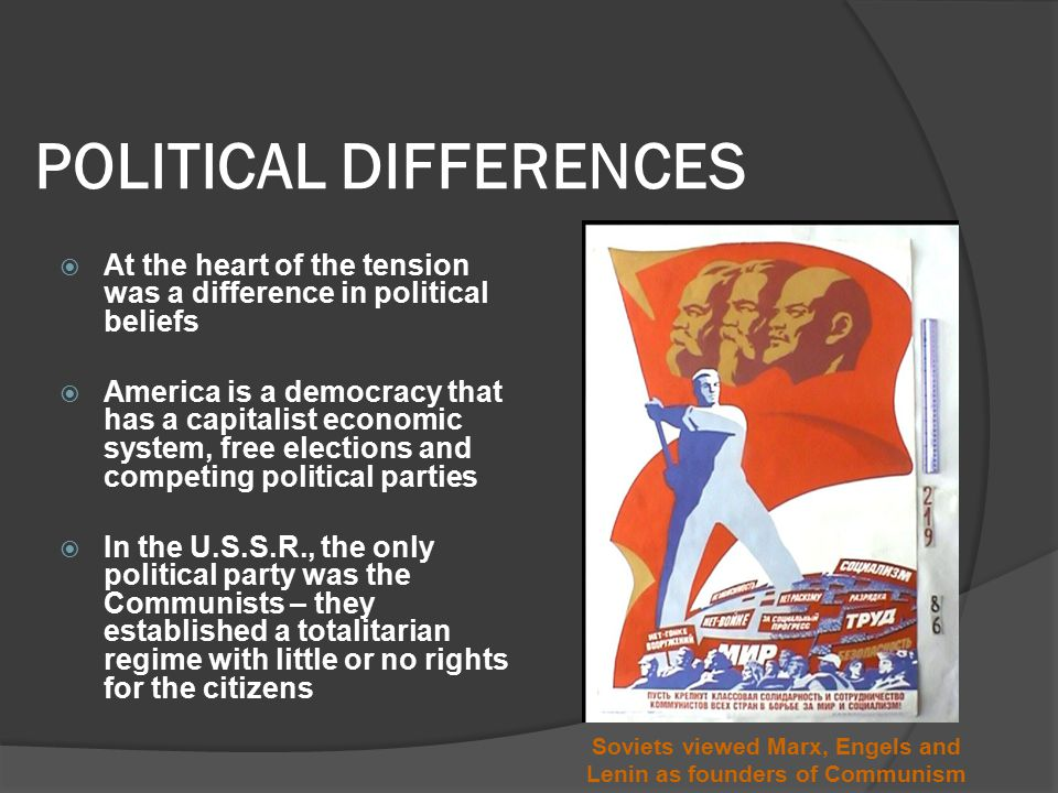 POLITICAL DIFFERENCES  At the heart of the tension was a difference in political beliefs  America is a democracy that has a capitalist economic system, free elections and competing political parties  In the U.S.S.R., the only political party was the Communists – they established a totalitarian regime with little or no rights for the citizens Soviets viewed Marx, Engels and Lenin as founders of Communism