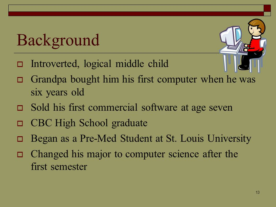 13 Background  Introverted ...
