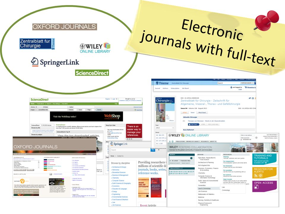 Electronic journals with full-text