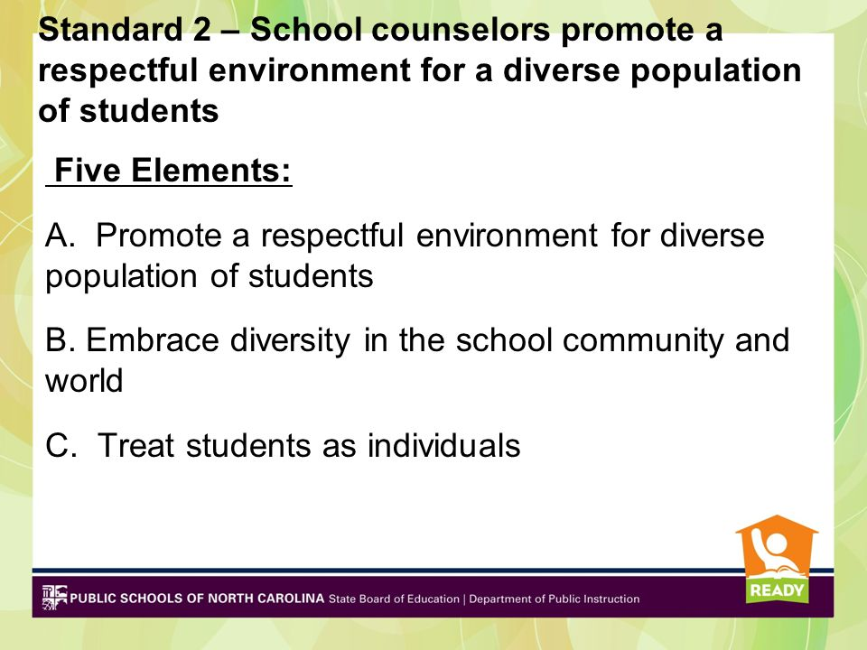 Standard 2 – School counselors promote a respectful environment for a diverse population of students Five Elements: A.