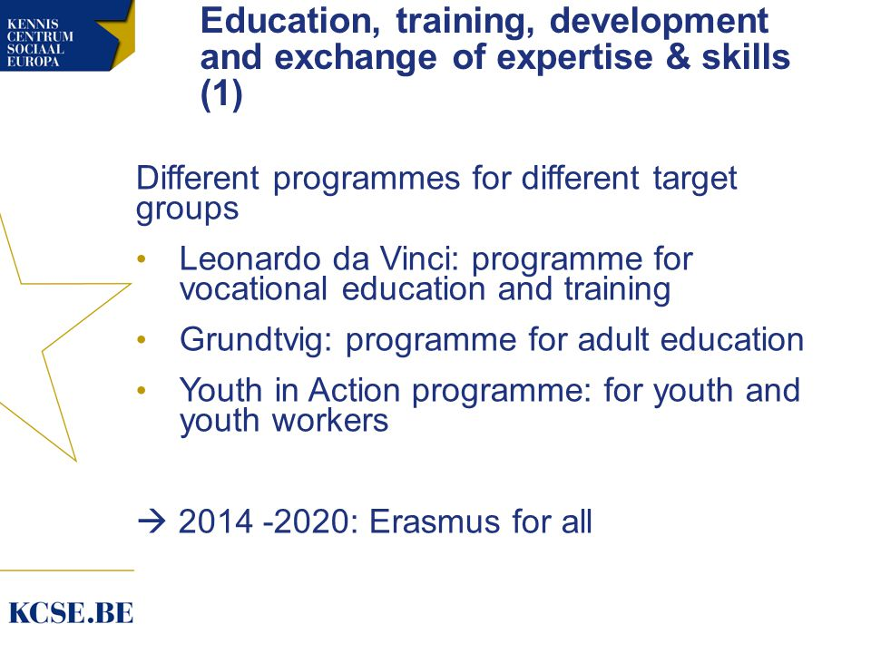 Education, training, development and exchange of expertise & skills (1) Different programmes for different target groups Leonardo da Vinci: programme for vocational education and training Grundtvig: programme for adult education Youth in Action programme: for youth and youth workers  : Erasmus for all