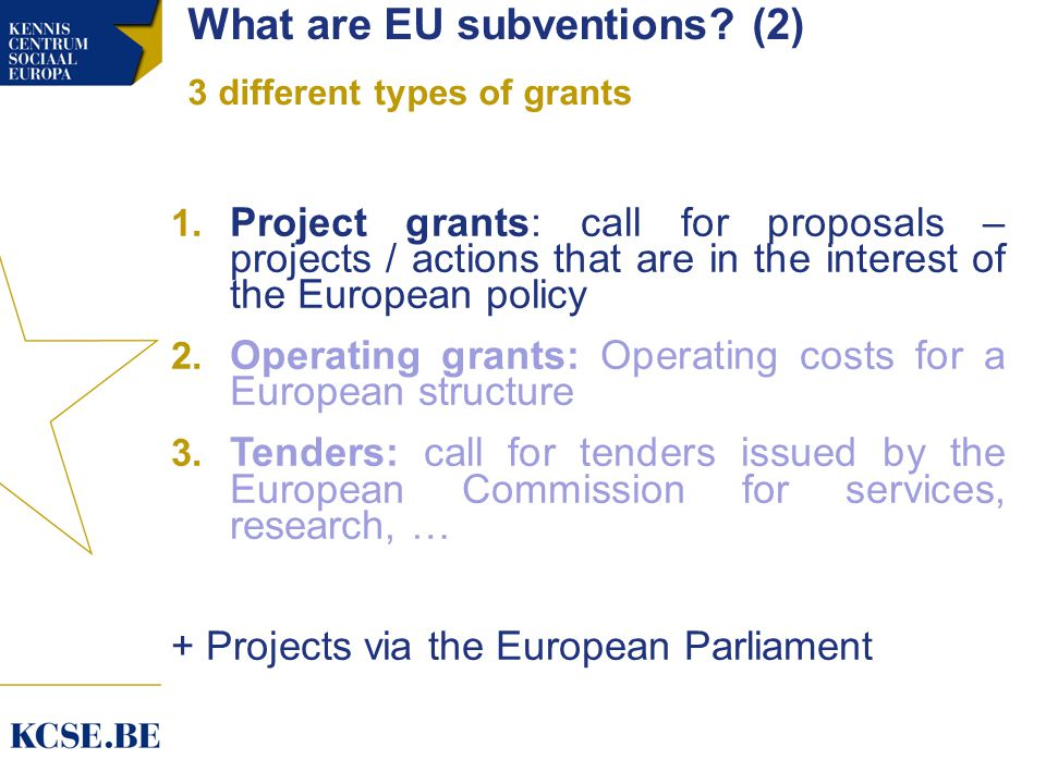 What are EU subventions. (2) 3 different types of grants 1.