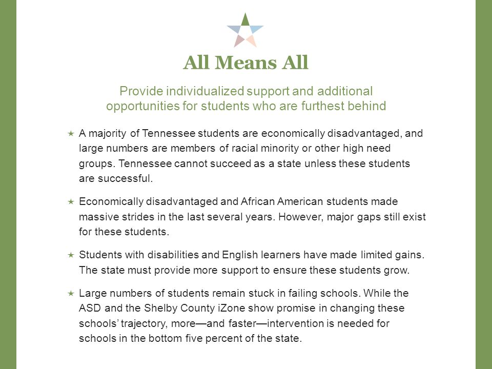 Provide individualized support and additional opportunities for students who are furthest behind All Means All  A majority of Tennessee students are economically disadvantaged, and large numbers are members of racial minority or other high need groups.