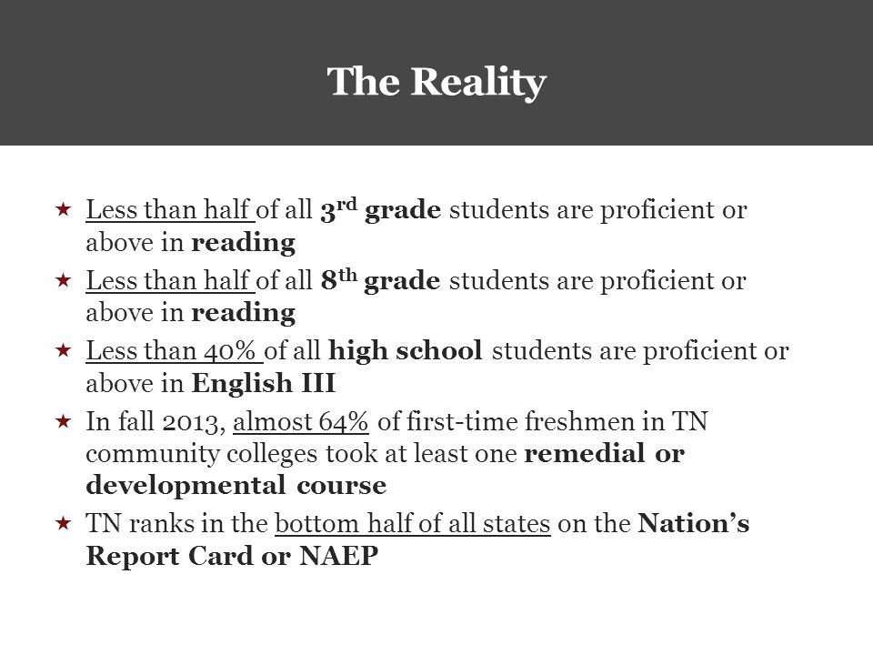 The Reality  Less than half of all 3 rd grade students are proficient or above in reading  Less than half of all 8 th grade students are proficient or above in reading  Less than 40% of all high school students are proficient or above in English III  In fall 2013, almost 64% of first-time freshmen in TN community colleges took at least one remedial or developmental course  TN ranks in the bottom half of all states on the Nation's Report Card or NAEP