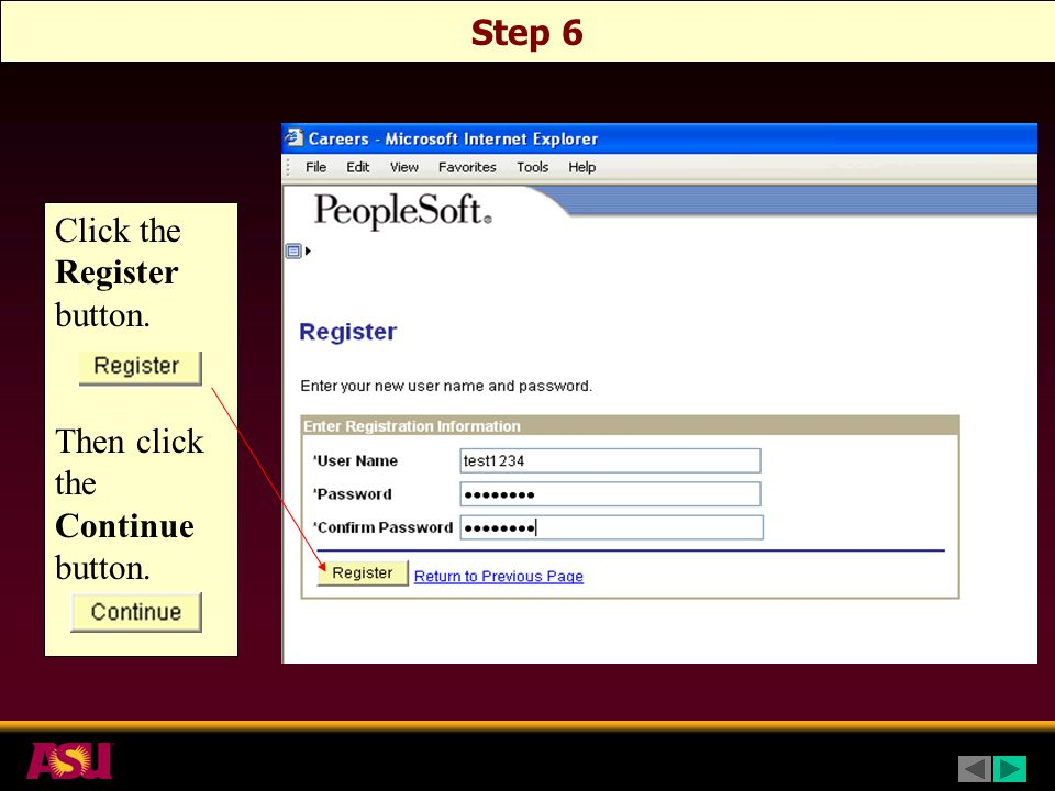 Step 6 Click the Register button. Then click the Continue button.