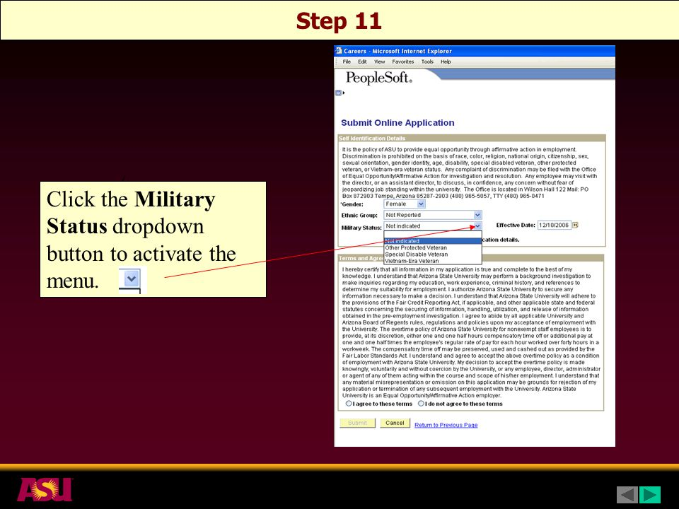 Step 11 Click the Military Status dropdown button to activate the menu.