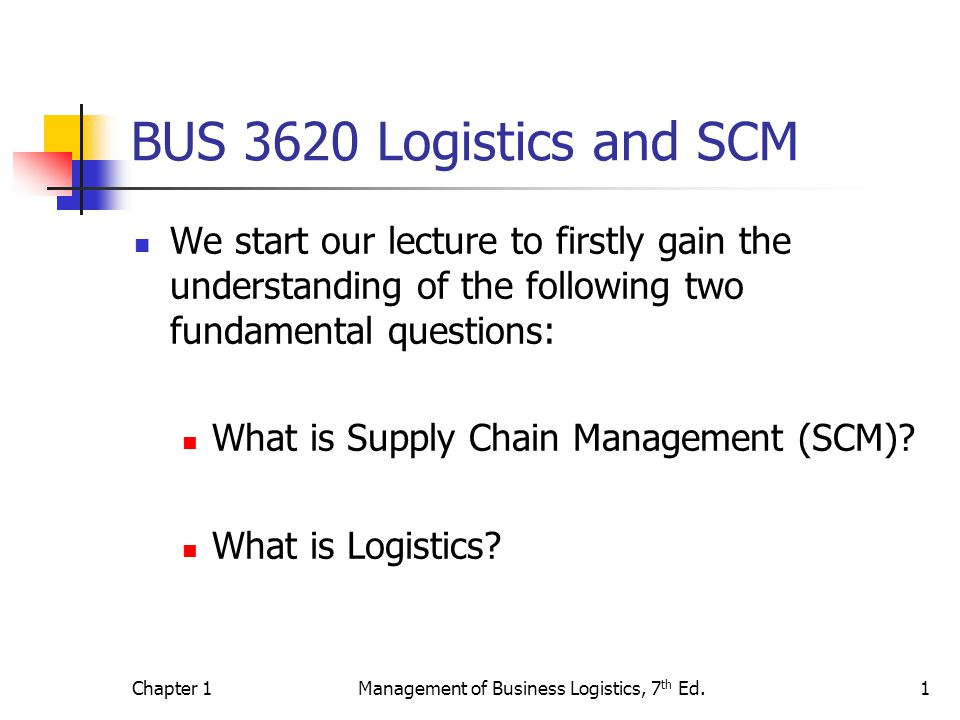 Chapter 1Management of Business Logistics, 7 th Ed.1 BUS 3620 Logistics and SCM We start our lecture to firstly gain the understanding of the following two fundamental questions: What is Supply Chain Management (SCM).