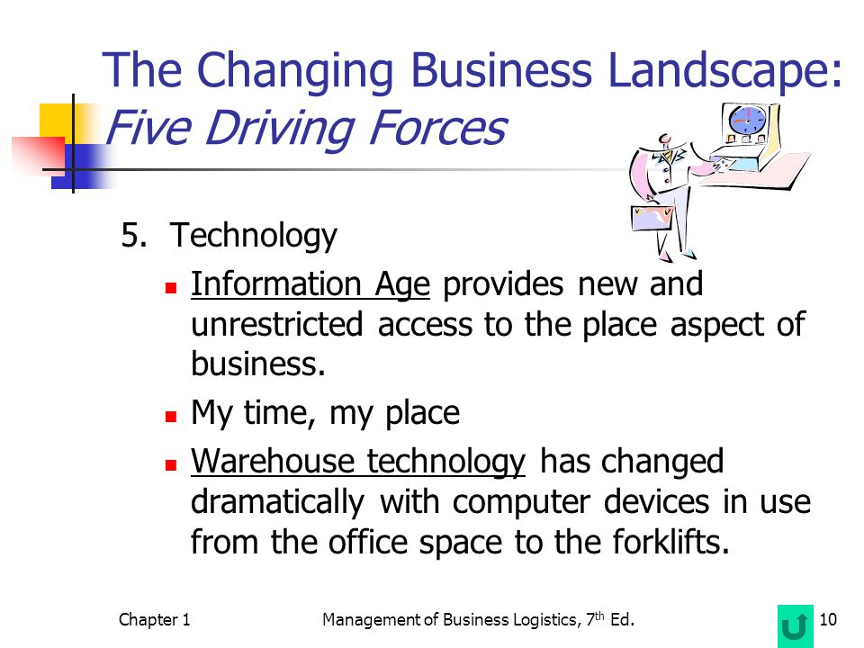 Chapter 1Management of Business Logistics, 7 th Ed.10 The Changing Business Landscape: Five Driving Forces 5.