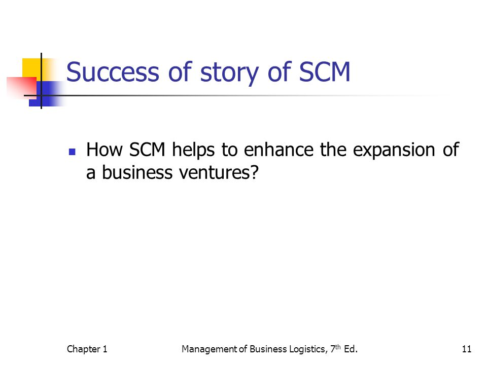 Chapter 1Management of Business Logistics, 7 th Ed.11 Success of story of SCM How SCM helps to enhance the expansion of a business ventures