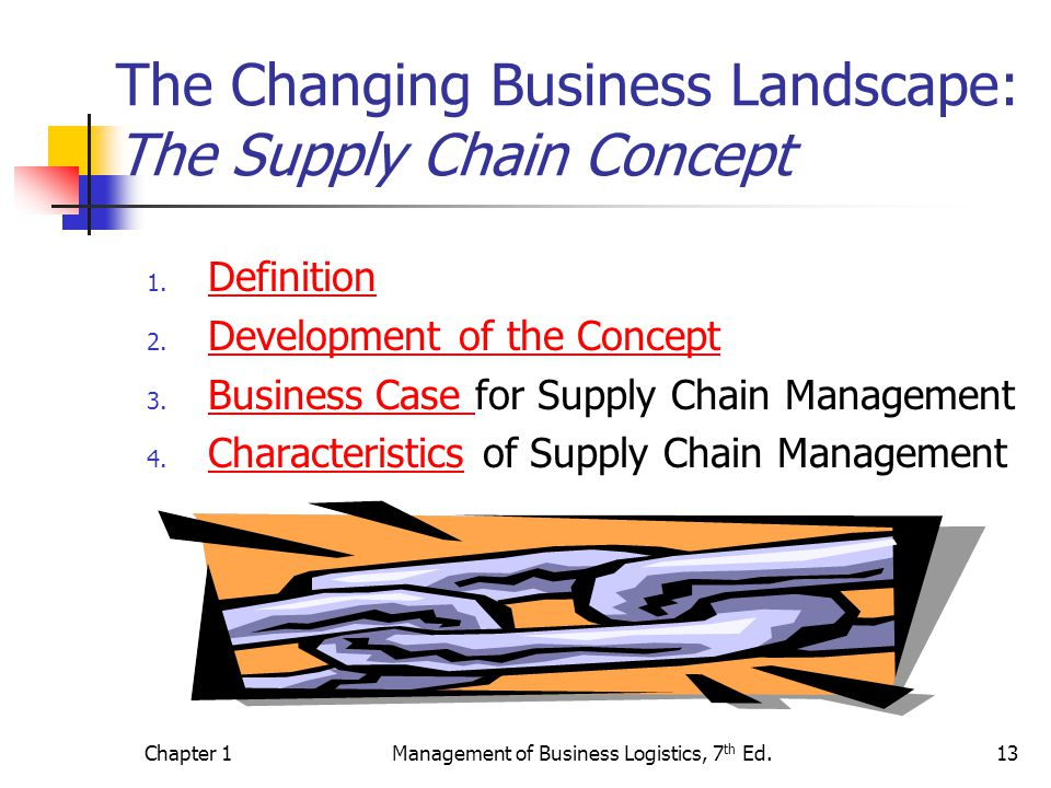 Chapter 1Management of Business Logistics, 7 th Ed.13 The Changing Business Landscape: The Supply Chain Concept 1.