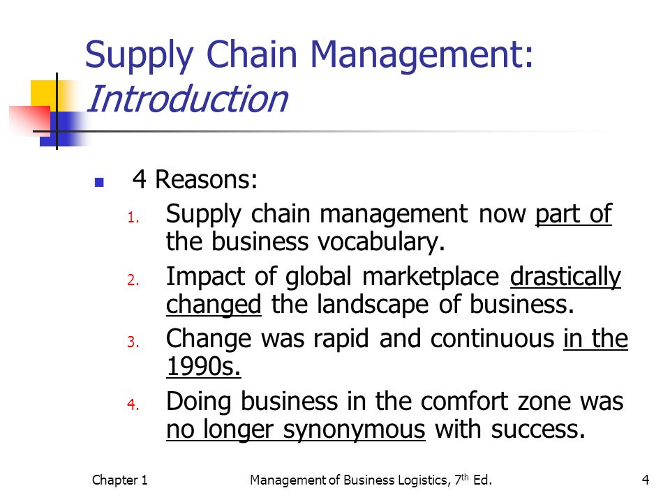 Chapter 1Management of Business Logistics, 7 th Ed.4 Supply Chain Management: Introduction 4 Reasons: 1.