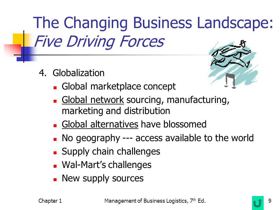 Chapter 1Management of Business Logistics, 7 th Ed.9 The Changing Business Landscape: Five Driving Forces 4.