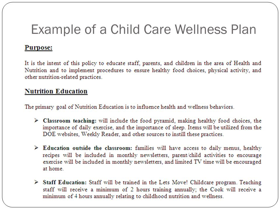 Example of a Child Care Wellness Plan