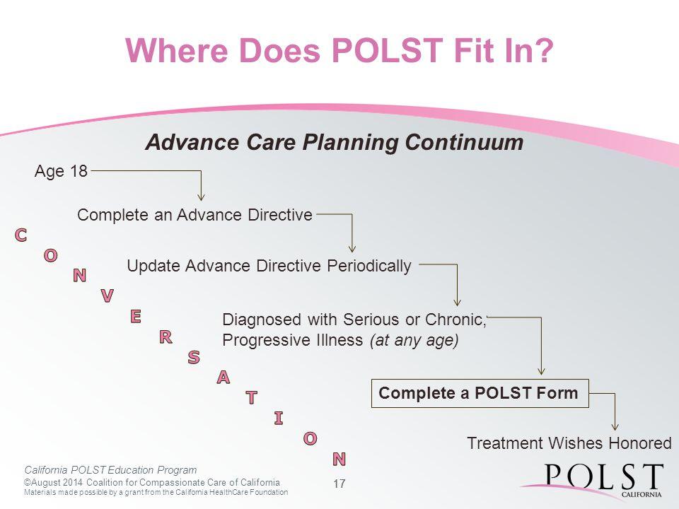 California POLST Education Program ©August 2014 Coalition for ...