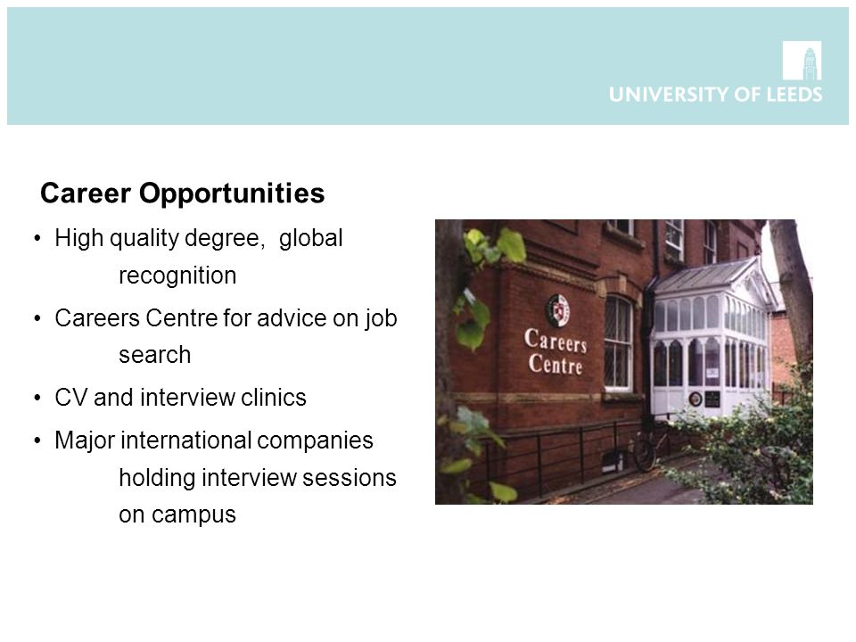 Career Opportunities High quality degree, global recognition Careers Centre for advice on job search CV and interview clinics Major international companies holding interview sessions on campus