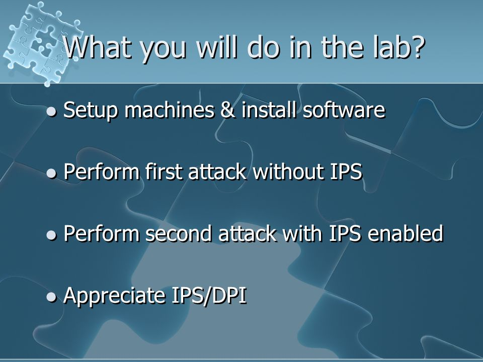What you will do in the lab.