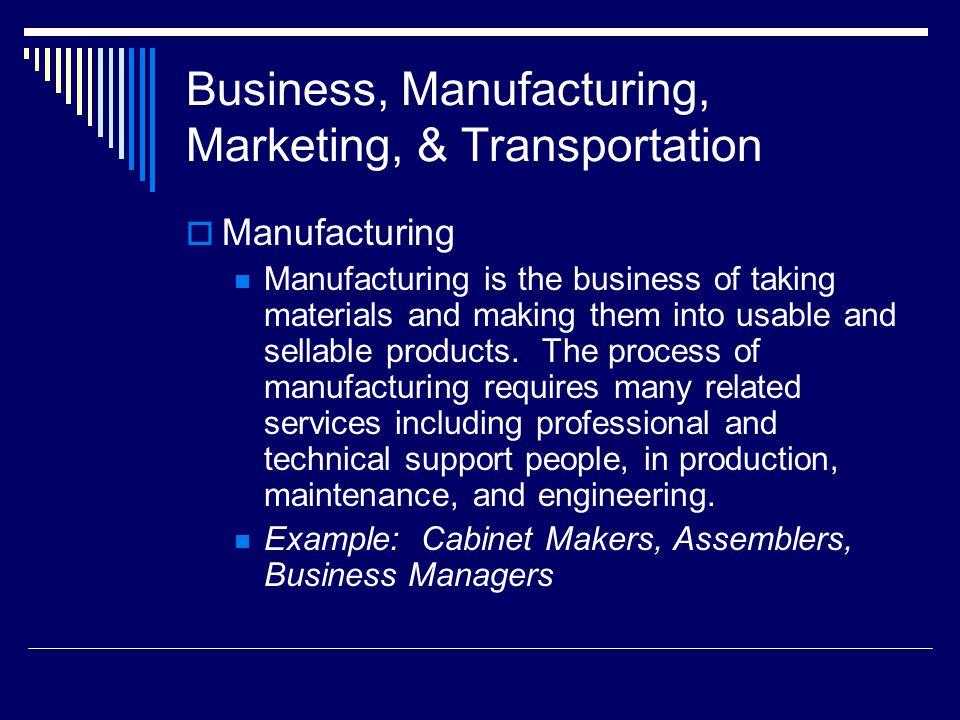 Business, Manufacturing, Marketing, & Transportation  Manufacturing Manufacturing is the business of taking materials and making them into usable and sellable products.