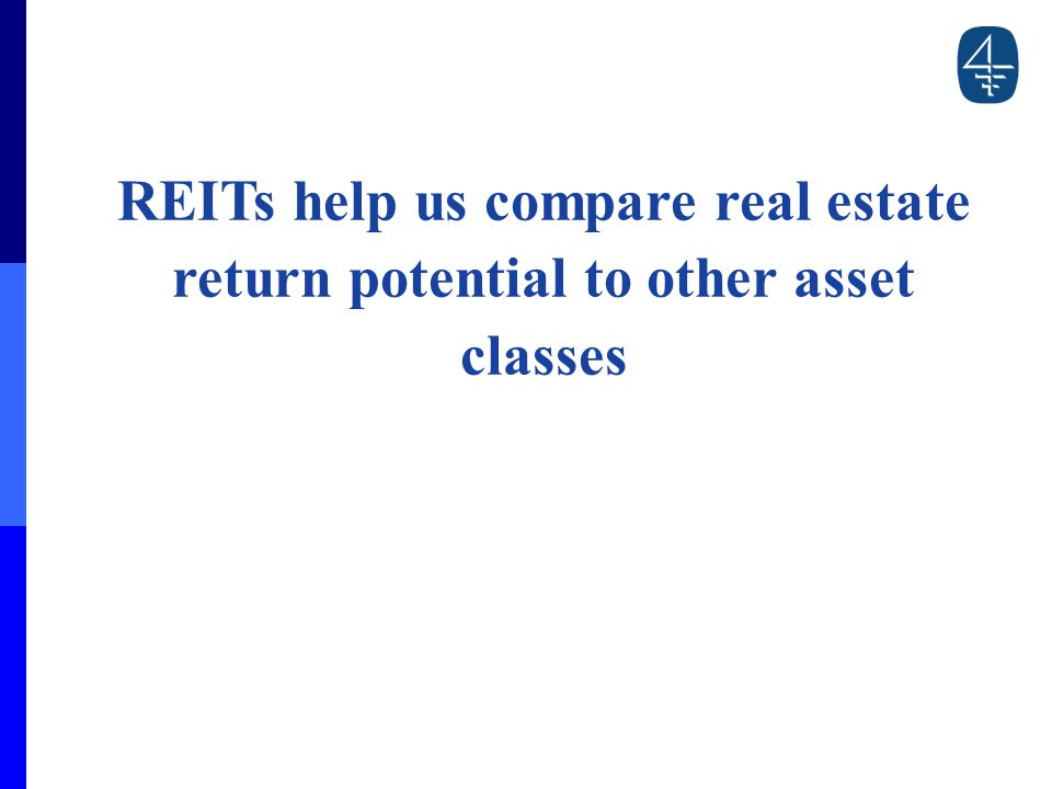 REITs help us compare real estate return potential to other asset classes