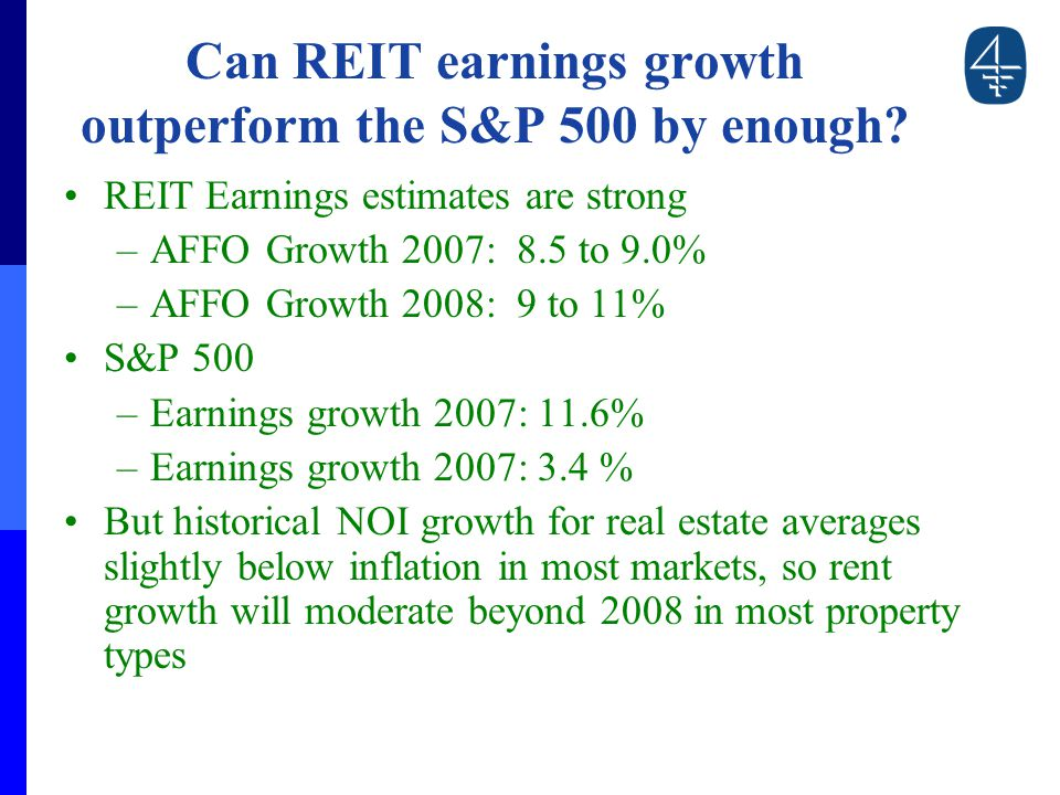 Can REIT earnings growth outperform the S&P 500 by enough.
