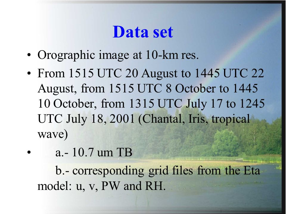 Data set Orographic image at 10-km res.