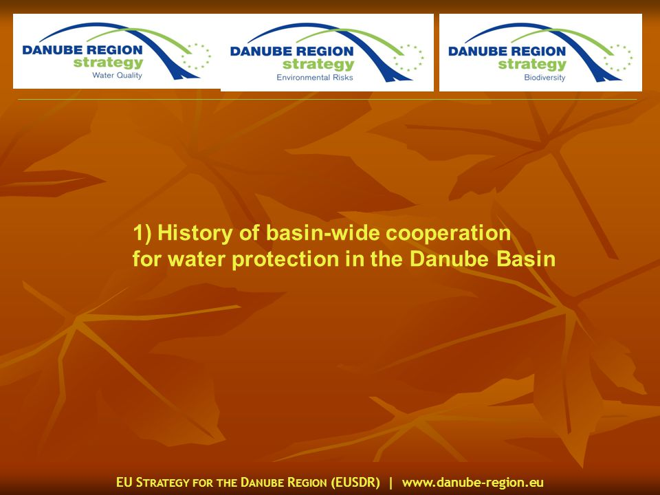 EU S TRATEGY FOR THE D ANUBE R EGION (EUSDR) |   1)History of basin-wide cooperation for water protection in the Danube Basin
