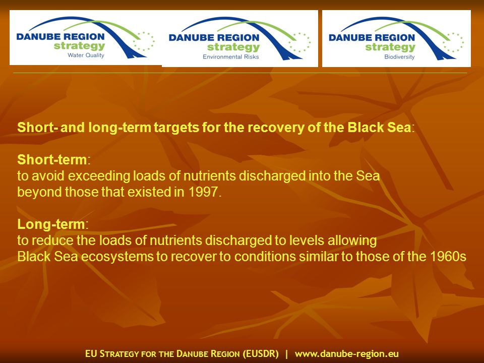 EU S TRATEGY FOR THE D ANUBE R EGION (EUSDR) |   Short- and long-term targets for the recovery of the Black Sea: Short-term: to avoid exceeding loads of nutrients discharged into the Sea beyond those that existed in 1997.