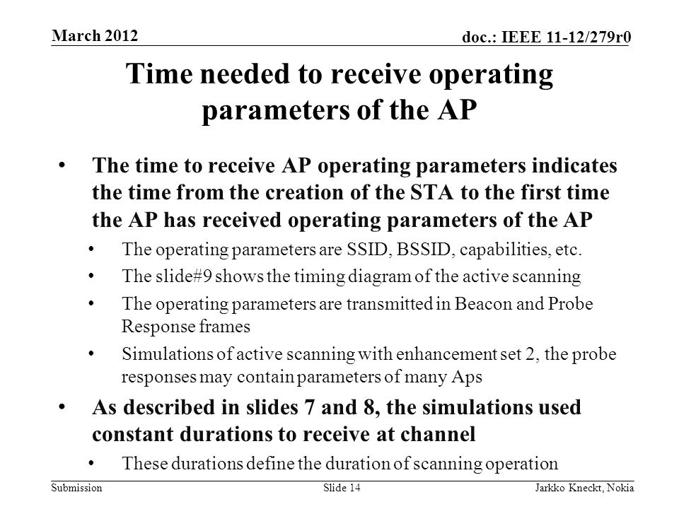 Submission doc.: IEEE 11-12/279r0 Time needed to receive operating parameters of the AP The time to receive AP operating parameters indicates the time from the creation of the STA to the first time the AP has received operating parameters of the AP The operating parameters are SSID, BSSID, capabilities, etc.
