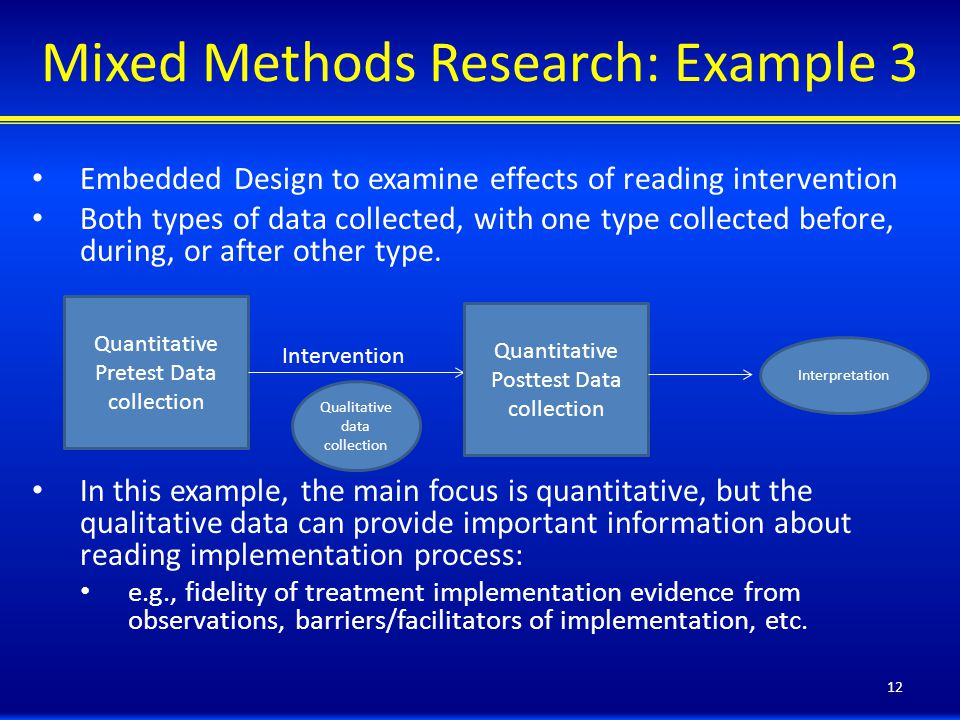 Mixed Methods Research: Example 3 Embedded Design to examine effects of reading intervention Both types of data collected, with one type collected before, during, or after other type.