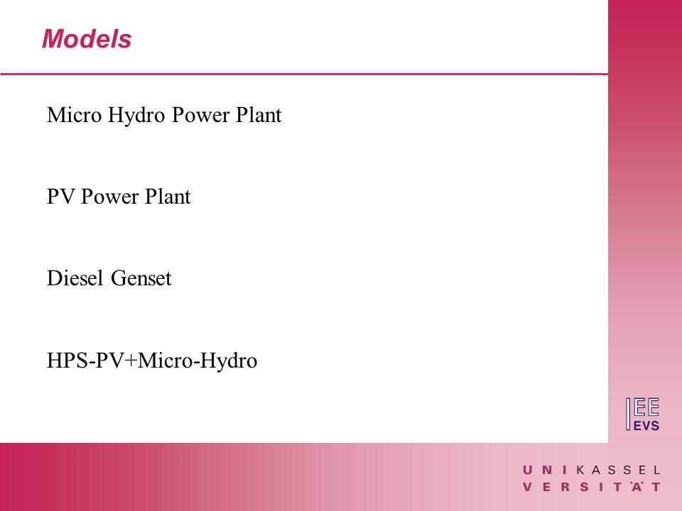 Models Micro Hydro Power Plant PV Power Plant Diesel Genset HPS-PV+Micro-Hydro