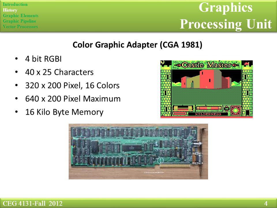 CEG 4131-Fall Graphics Processing Unit Color Graphic Adapter (CGA 1981) 4 bit RGBI 40 x 25 Characters 320 x 200 Pixel, 16 Colors 640 x 200 Pixel Maximum 16 Kilo Byte Memory CEG 4131-Fall Introduction History Graphic Elements Graphic Pipeline Vector Processors