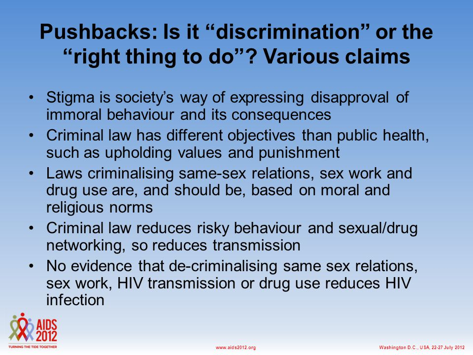 Washington D.C., USA, July 2012www.aids2012.org Pushbacks: Is it discrimination or the right thing to do .