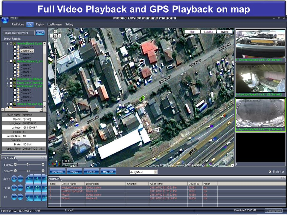 Full Video Playback and GPS Playback on map