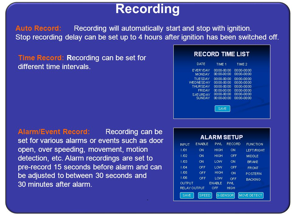Recording. Time Record: Recording can be set for different time intervals.