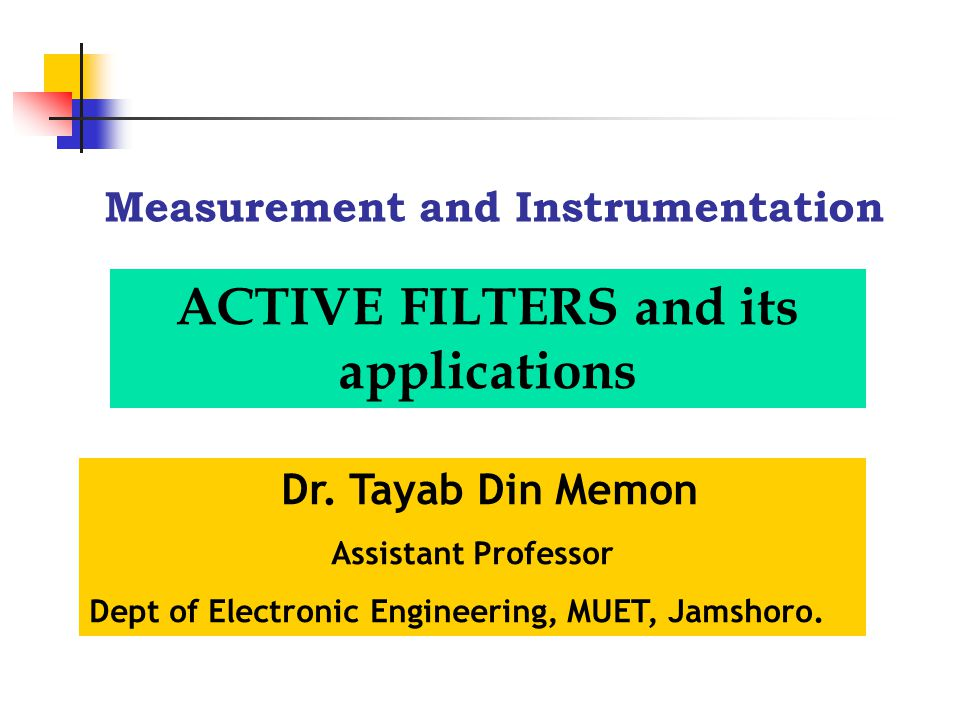 Measurement and Instrumentation Dr.