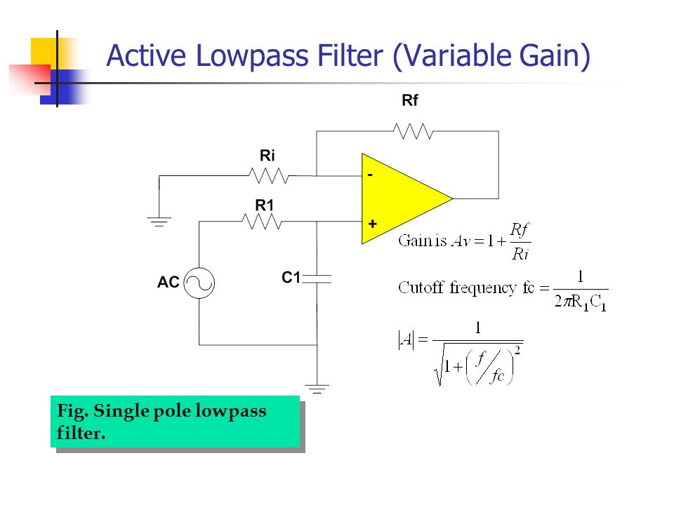 Active Lowpass Filter (Variable Gain) Fig. Single pole lowpass filter.