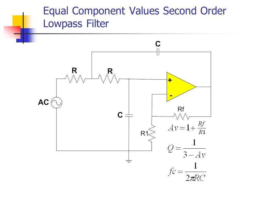 Equal Component Values Second Order Lowpass Filter