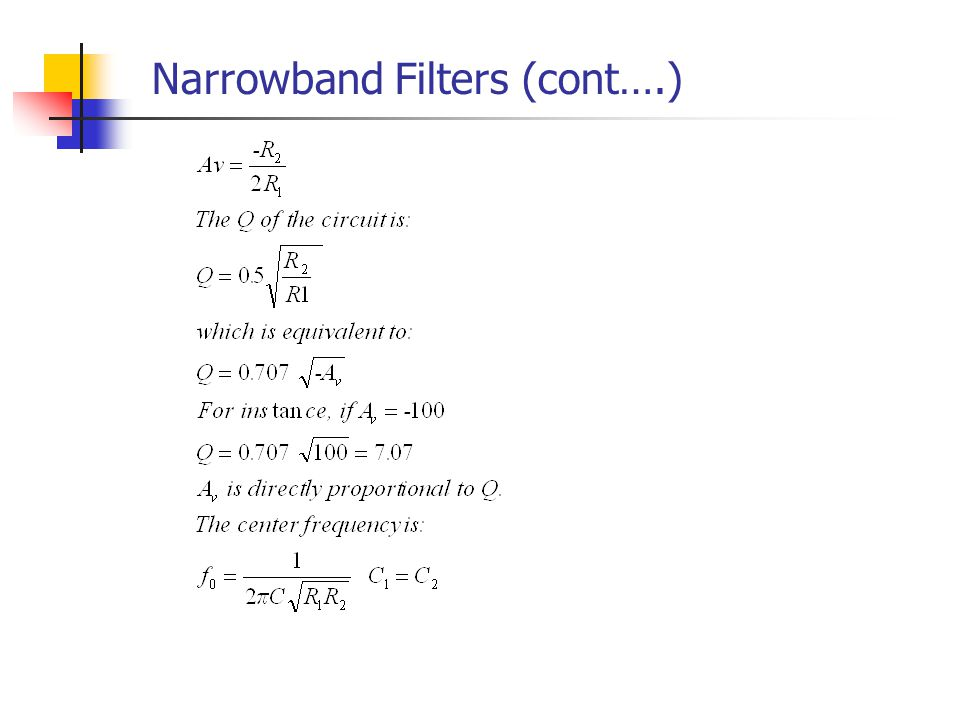 Narrowband Filters (cont….)