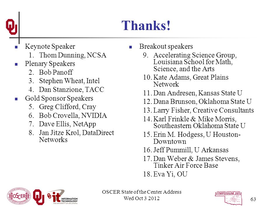 OSCER State of the Center Address Wed Oct 3 2012 63 Thanks.