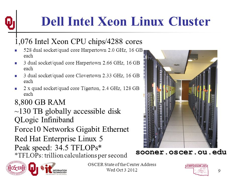 OSCER State of the Center Address Wed Oct 3 2012 9 1,076 Intel Xeon CPU chips/4288 cores 528 dual socket/quad core Harpertown 2.0 GHz, 16 GB each 3 dual socket/quad core Harpertown 2.66 GHz, 16 GB each 3 dual socket/quad core Clovertown 2.33 GHz, 16 GB each 2 x quad socket/quad core Tigerton, 2.4 GHz, 128 GB each 8,800 GB RAM ~130 TB globally accessible disk QLogic Infiniband Force10 Networks Gigabit Ethernet Red Hat Enterprise Linux 5 Peak speed: 34.5 TFLOPs* *TFLOPs: trillion calculations per second Dell Intel Xeon Linux Cluster sooner.oscer.ou.edu