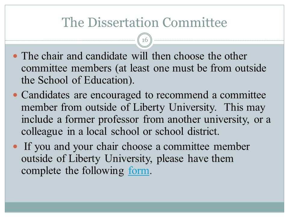 Dissertation Reading Committee Form