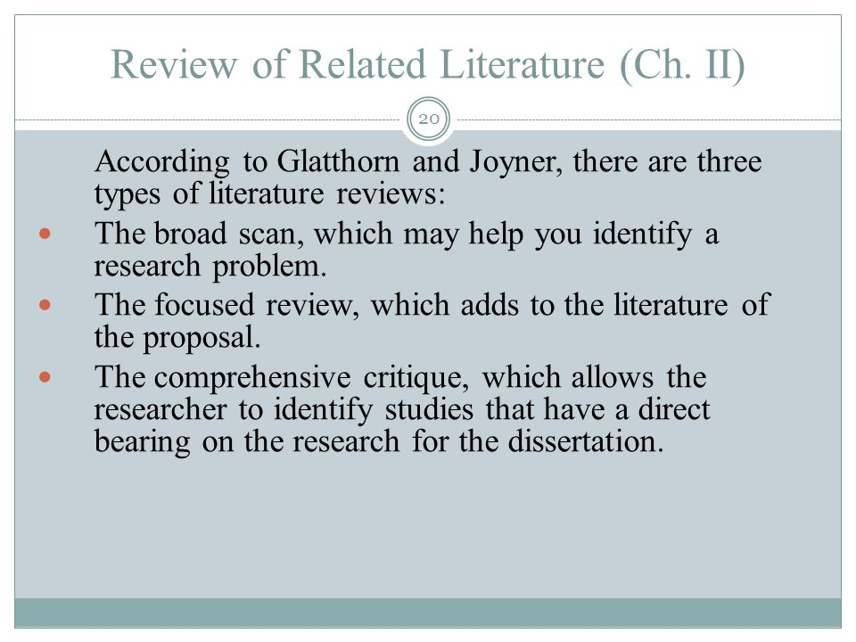 Dissertation Literature Review Purpose