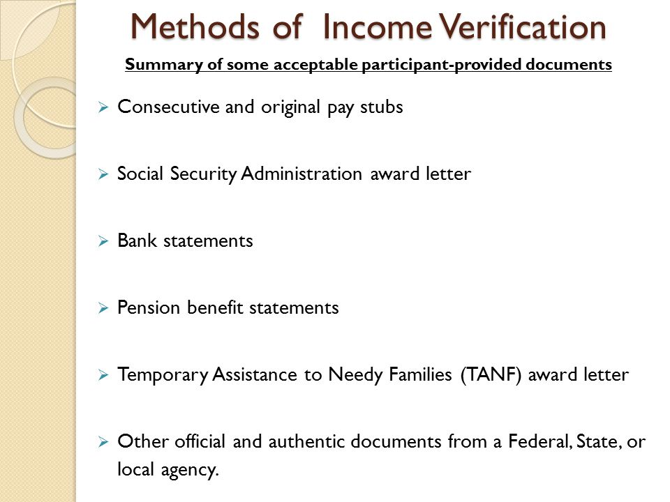 methods of income verification consecutive and original pay stubs social security administration award letter