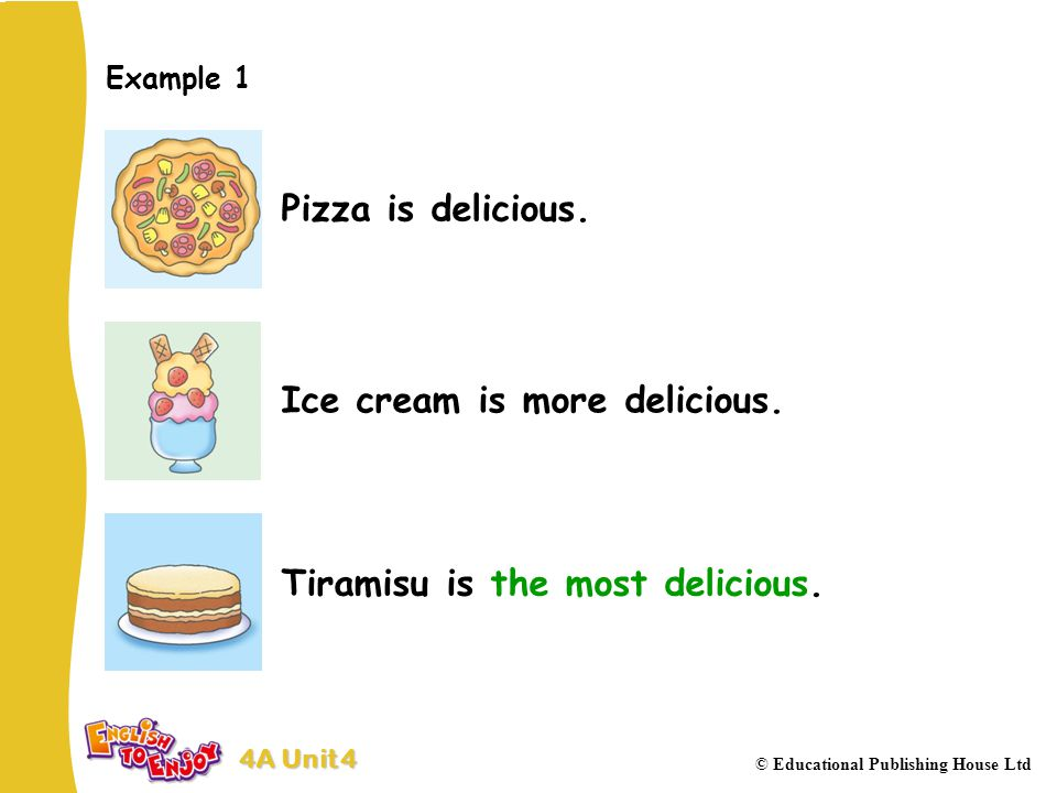 4A Unit 4 © Educational Publishing House Ltd Example 1 Pizza is delicious.