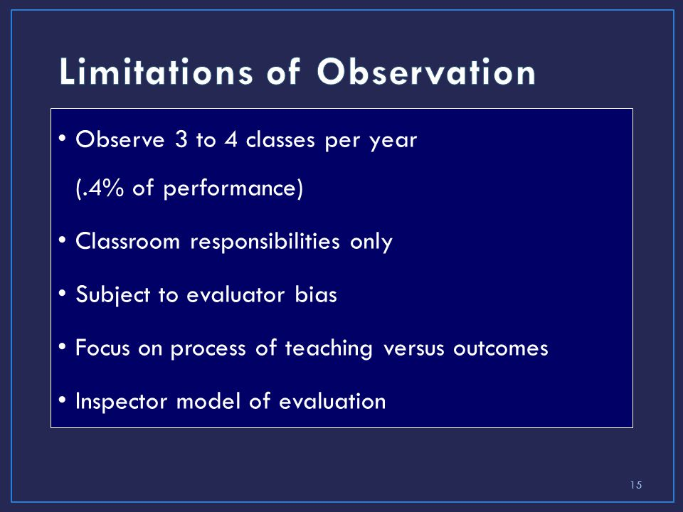 15 Observe 3 to 4 classes per year (.4% of performance) Classroom responsibilities only Subject to evaluator bias Focus on process of teaching versus outcomes Inspector model of evaluation