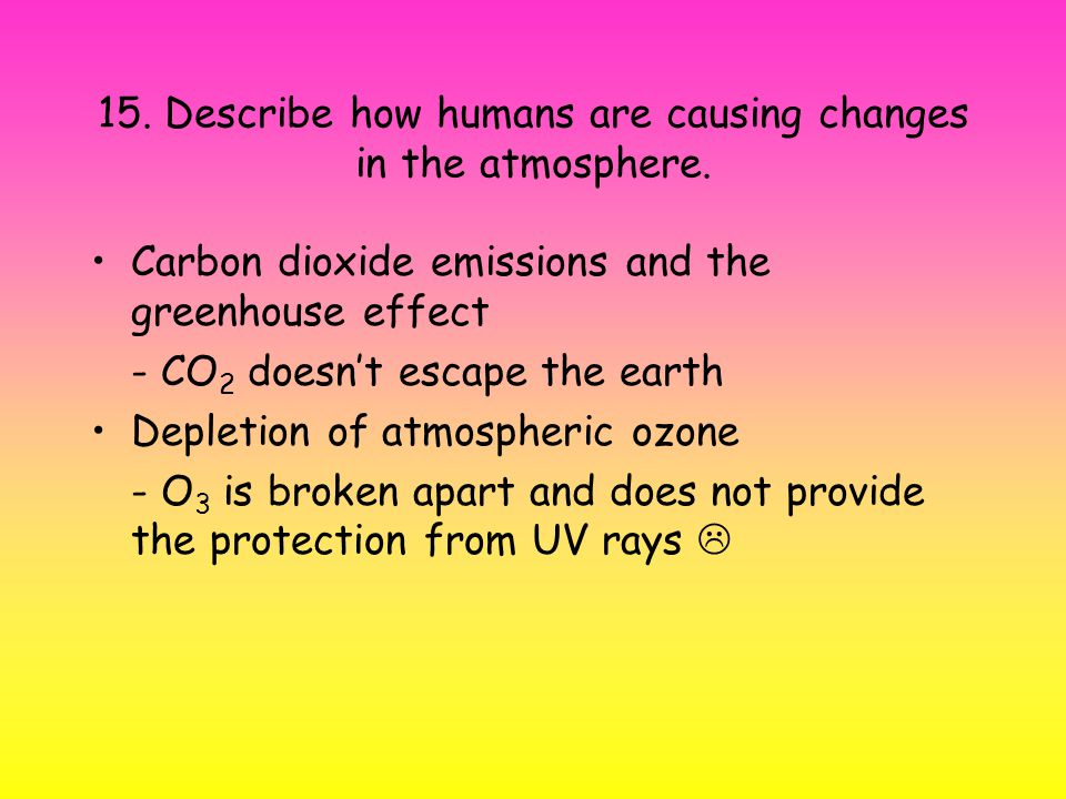 15. Describe how humans are causing changes in the atmosphere.
