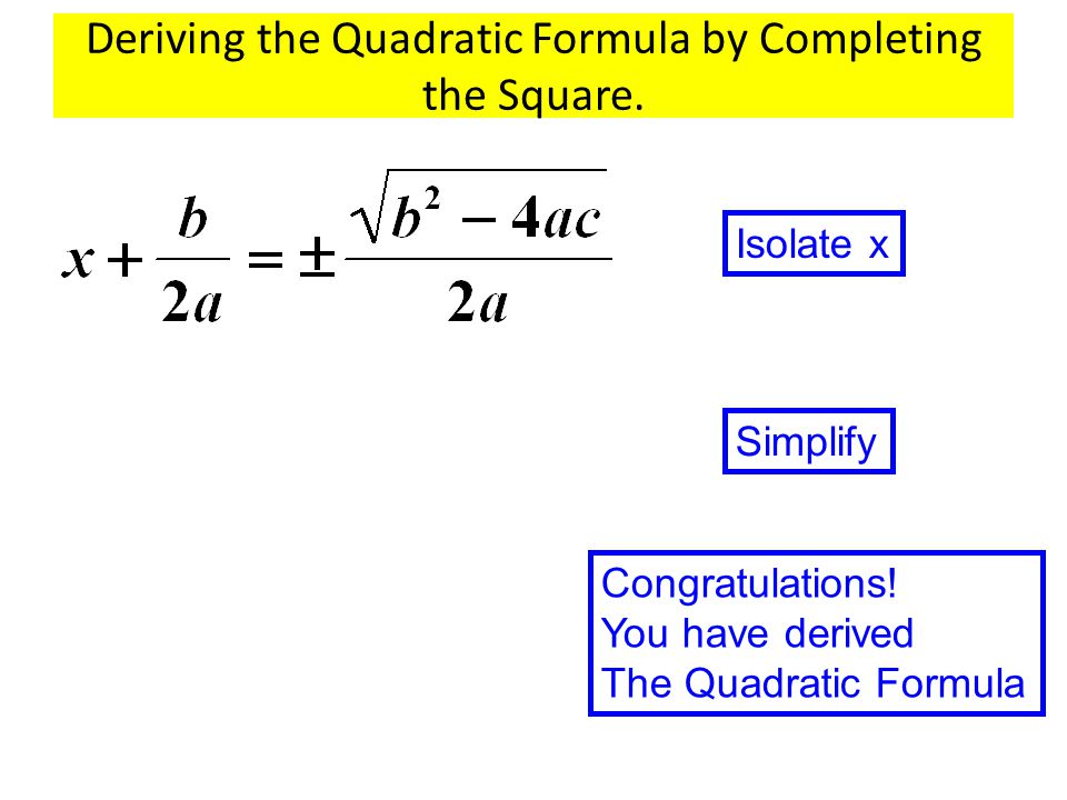 Deriving the Quadratic Formula by Completing the Square.