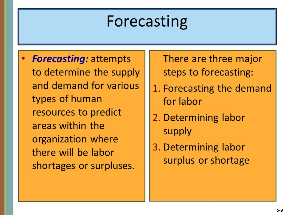 5-3 Forecasting Forecasting: attempts to determine the supply and demand for various types of human resources to predict areas within the organization where there will be labor shortages or surpluses.