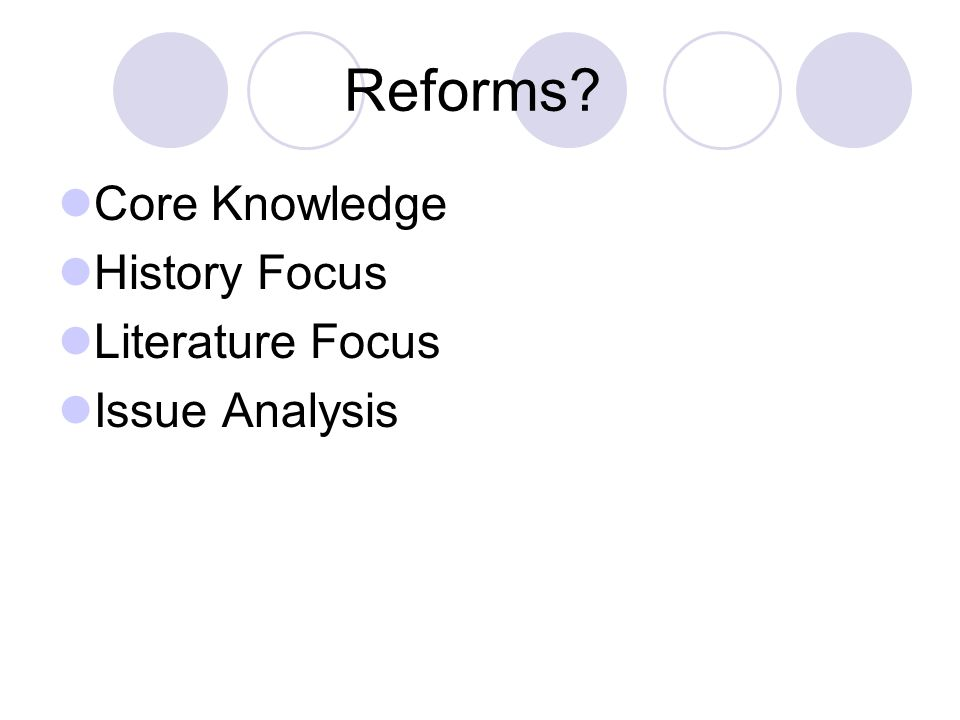 Reforms Core Knowledge History Focus Literature Focus Issue Analysis
