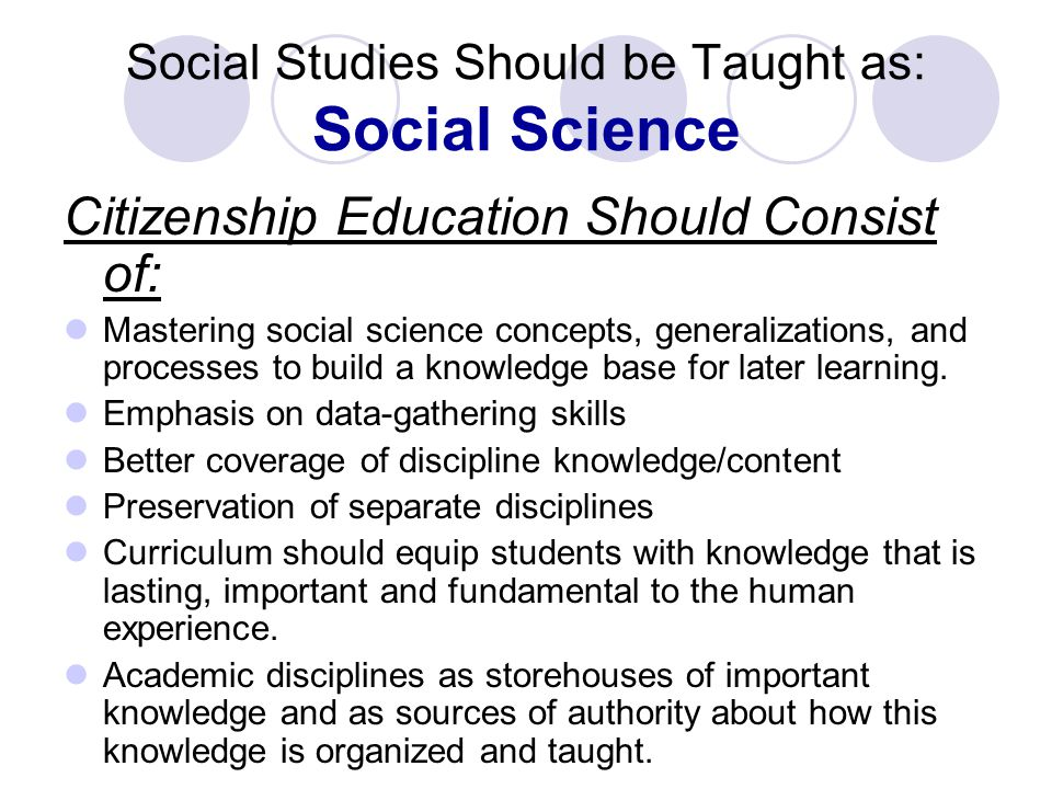 Social Studies Should be Taught as: Social Science Citizenship Education Should Consist of: Mastering social science concepts, generalizations, and processes to build a knowledge base for later learning.